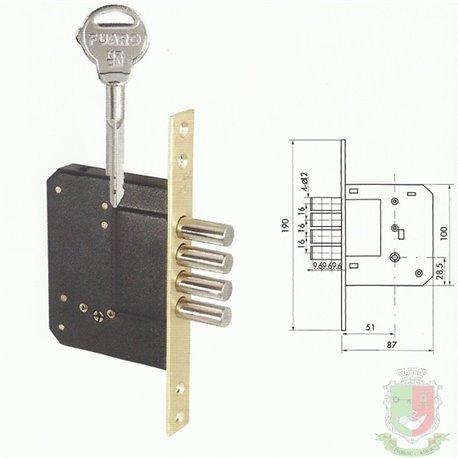 Замок врезной FUARO 200 -4MF/ 5 КЛЮЧЕЙ (крестовой ключ)